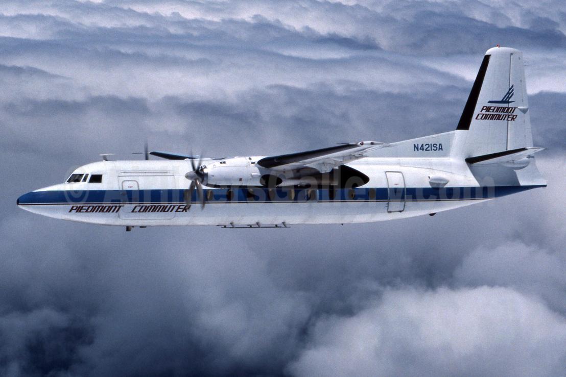 Piedmont Commuter (Piedmont Commuter System)-Brockway Air Fokker F.27 Mk. 600 N421SA (msn 10592) SYR (Jay Selman). Image: 403609.