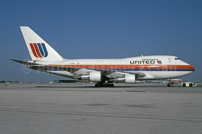 United Airlines Boeing 747SP-21 N149UA (msn 21649) MIA (Bruce Drum). Image: 101362.