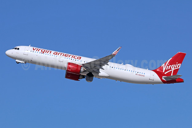 """Frances"", delivered on May 24, 2017, the last Virgin America aircraft to be repainted on June 2, 2019"