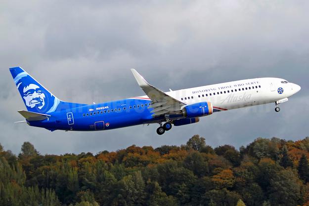 "Alaska Airlines unveils its new ""Honoring Those Who Serve"" veterans logo jet"