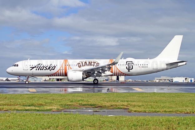Alaska's 2018 San Francisco Giants logo jet