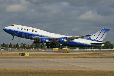 United Airlines Boeing 747-422 N181UA (msn 25278) LHR (SPA). Image: 929611.