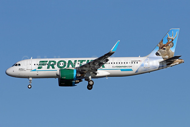 """""""Wilbur, the Whitetail"""", the first Frontier Airbus A320neo, delivered on October 19, 2016"""