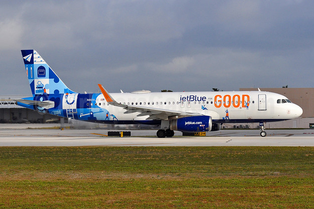 "jetBlue's 2018 ""jetBlue for Good"" logo jet"