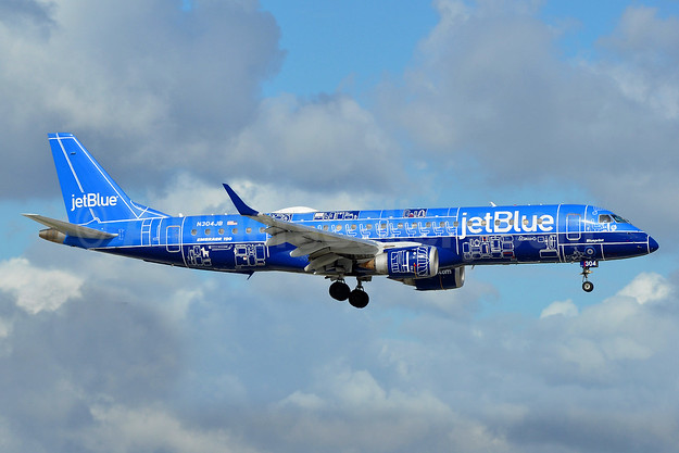 "JetBlue's first Embraer 190 logo jet - ""Blueprint"""