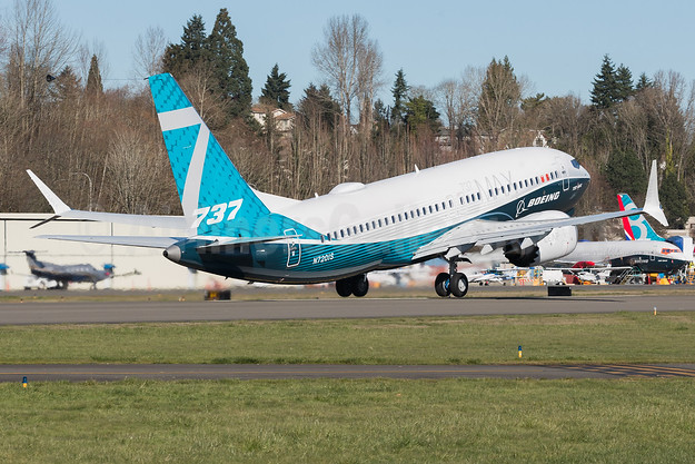 First takeoff of first flight of Boeing 737-7 MAX 7